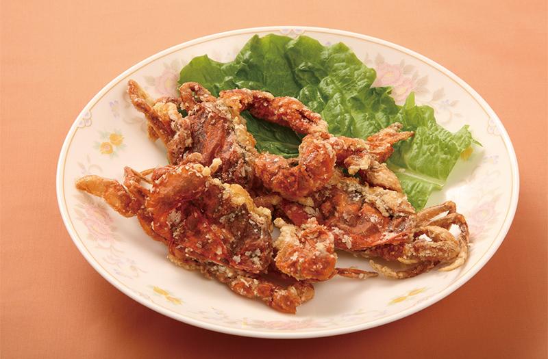 油淋軟蟹|ソフトシェル(脱皮ガニ)の揚物香りソース掛け